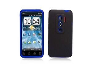 Black Hybrid Hard Case Cover with Blue Silicone Inner Case for HTC Evo 3D Evo V