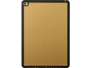 For iPad Air 2 Gold Hybrid Carbon Fiber Design w/ Black TPU Border Cover Case