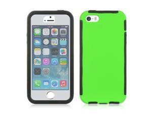 For iPhone 5 / 5S  Green /  Black Trim W/ Screen Protector Snap-On Cover Case