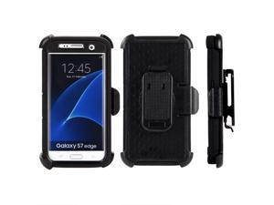 For Samsung Galaxy S7 Edge Black Hybrid Black Silicone Holster Cover Case Stand
