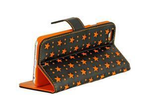 "For iPhone 6 / 6S (4.7"") Black With Orange Stars Flip Folio Leather Cover Case"