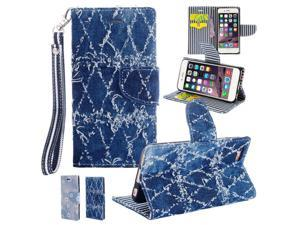 "For iPhone 6 / 6S (4.7"") Blue Denim Folio Wallet Leather ID Card Cover Case"