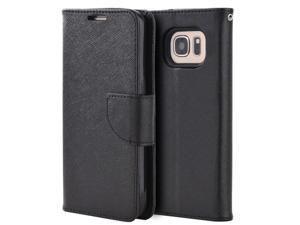 For Samsung Galaxy S7 Black Diary Flip Folio Wallet Leather ID Card Cover Case