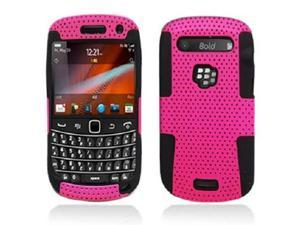Black Silicone Hybrid Case with Pink Hard Outer Case for Blackberry 9900 9930