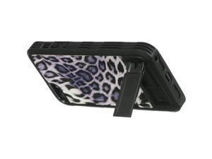 For iPhone 5 / 5s Black / Purple Leopard Print Back Fusion Fitted Cover Case