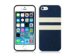 For iPhone 5 / 5S Blue w/ White Stripes Leather Finish TPU Fitted Cover Case