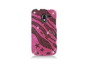 Hot Pink Zebra Star Design Diamond Snap-On Hard Case Cover for ZTE Avid 4G N9120