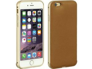 """For iPhone 6 / 6S (4.7"""") Brown Leather Back Slide In Hard Cover Case"""