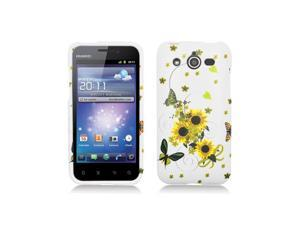 White with Sunflowers Design Snap-On Hard Case Cover for Huawei Mercury M886