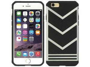 """For iPhone 6 / 6S Plus (5.5"""") Black TPU Sergeant Hybrid Silver Hard Cover Case"""