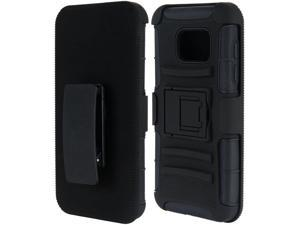 For Samsung Galaxy S7 Black Hybrid Black Silicone w/ H Style Stand Cover Case
