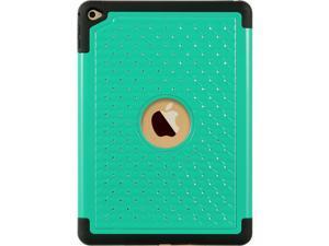 For iPad Air 2 Teal Hybrid w/ Diamond Studded Black TPU Cover Case