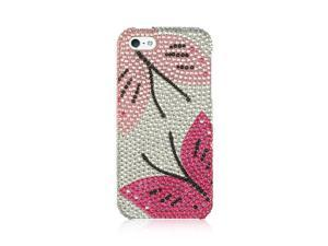For iPhone 5 / 5S  Pink / Silver Dueling Butterflies Diamond Fitted Cover Case