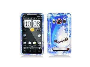 Blue Christmas Snow Scene Design Snap-On Hard Case Cover for HTC Evo 4G