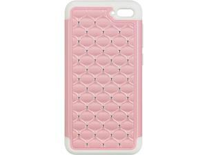 For Amazon Fire Phone Pink Hybrid Diamond Studded White TPU Cover Case