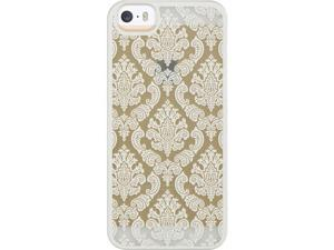 For iPhone 5 / 5S White / Clear Lace Design Back Fitted Skin Cover Case