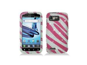 Hot Pink / White Zebra Diamond Snap-On Case Cover for  Motorola Atrix 2 Mb865