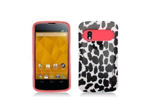 Hot Pink Hybrid Case with White / Black Leopard Print Cover for Google Nexus 4