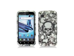 White / Black Skulls Design Snap-On Hard Case Cover for Motorola Atrix 2 Mb865
