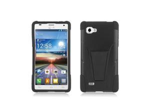 Black Hybrid Hard Case Cover with Kick Stand for LG Optimus 4X HD