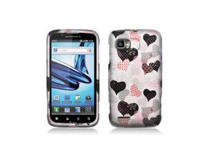 Pink / Black Hearts Design Snap-On Hard Case Cover for Motorola Atrix 2 Mb865