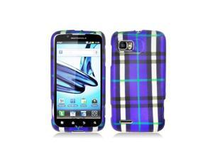 Blue Black Green Plaid Design Snap-On Hard Case Cover for Motorola Atrix 2 Mb865