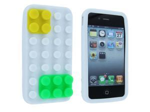 White w/ Yellow and Green Lego Silicone Skin Case Cover for iPhone 4 / 4S