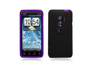 Black Hybrid Hard Case Cover w/ Purple Silicone Inner Case for HTC Evo 3D Evo V