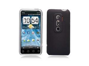 Black Hybrid Hard Case Cover with Clear Silicone Inner Case for HTC Evo 3D Evo V