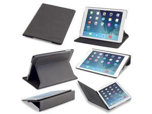 Slim iPad Air Case: Devicewear Ridge - Black Vegan Leather Case with Six Position Flip Stand and On/Off Switch