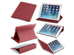 Slim iPad Air Case: Devicewear Ridge - Red Vegan Leather Case with Six Position Flip Stand and On/Off Switch