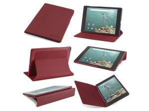 Slim Google Nexus 9 Version 1 (2014) case: The Ridge by Devicewear - Red Vegan Leather with Six Po