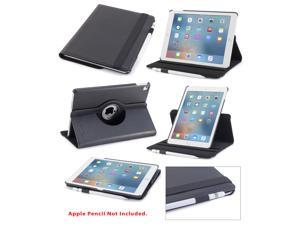iPad Pro 9.7 Case, DEVICEWEAR Detour 360 - Rotating Black Vegan Leather, Multiple Position Stand, Magnetic On/Off Switch for Apple iPad Air 3 / iPad Pro 9.7 inch