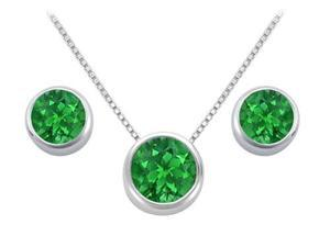Frosted Emerald Pendant and Stud Earrings Set in Sterling Silver 2.00 Carat Total Gem Weight
