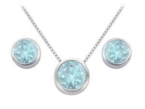 Created Aquamarine Pendant and Stud Earrings Set in Sterling Silver 2.00 CT TGW