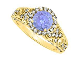 Newest December Birthstone Tanzanite with CZ April Birthstone Halo Engagement Ring