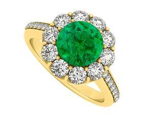 14K Yellow Gold May Birthstone Emerald and Cubic Zirconia Halo Engagement Ring