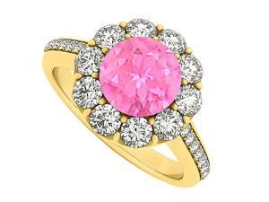 14K Yellow Gold September Birthstone Pink Sapphire and Cubic Zirconia Halo Engagement Ring