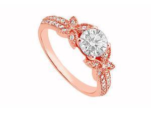 April Birthstone Diamond Halo Engagement Ring in 14K Rose Gold 0.70 CT TDW