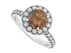 Smoky Quartz June Birthstone and CZ April Birthstone Halo Engagement Ring