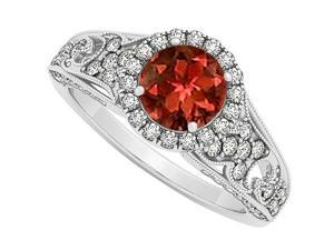 Garnet January Birthstone and CZ April Birthstone Halo Engagement Ring in 14K White Gold