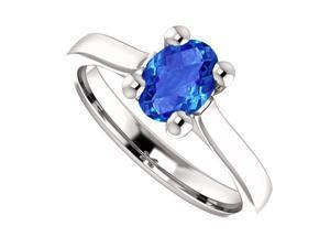 September Birthstone Oval Created Blue Sapphire Engagement Rings 925 Sterling Silver 1 CT TGW