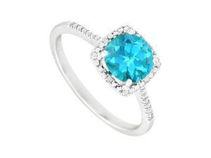 December Birthstone Created Blue Topaz and Diamond Engagement Rings 925 Sterling Silver