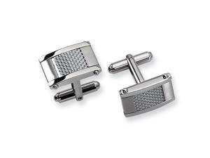 Men's Stainless Steel and Grey Carbon Fiber Cuff Links