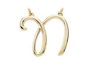 Script Initial Necklace in 14 Karat Yellow Gold, Letter N