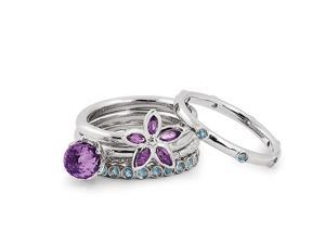 Sterling Silver Stackable Amethyst Flower Ring Set Size 6