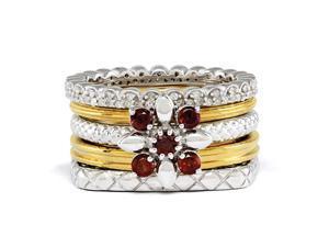 Sterling Silver & 18K Gold Plated Garnet Flower Ring Set Size 5
