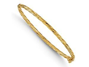 Italian 3mm Twisted Hinged Bangle Bracelet in 14K Yellow Gold