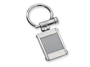 Men's Stainless Steel And Grey Carbon Fiber Key Chain