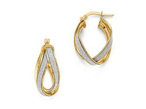 Glitter Infused Double Twist Hoops in 14K Yellow Gold, 22mm (7/8 Inch)